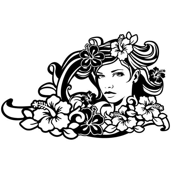 Vinilos Decorativos: Floral surfero sirena