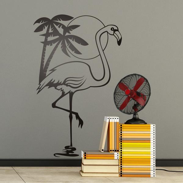 Vinilos Decorativos: Ave Flamenco, sol y palmeras