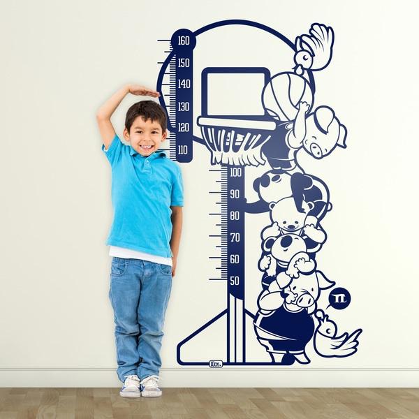 Vinilos Infantiles: Medidor animales jugando al baloncesto