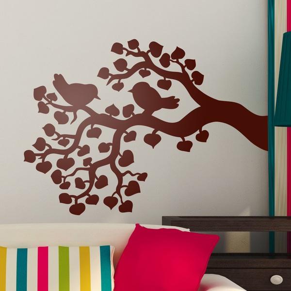 Vinilos Decorativos: Pareja de pájaros en la rama de un árbol