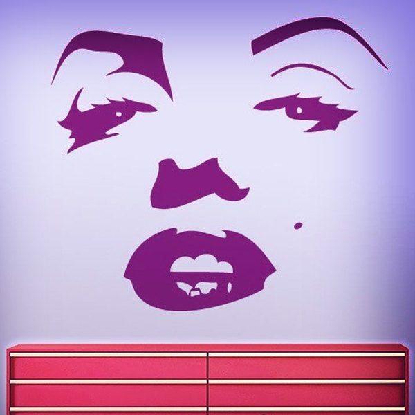 vinilo decorativo rasgos de la cara de marilyn monroe. Black Bedroom Furniture Sets. Home Design Ideas