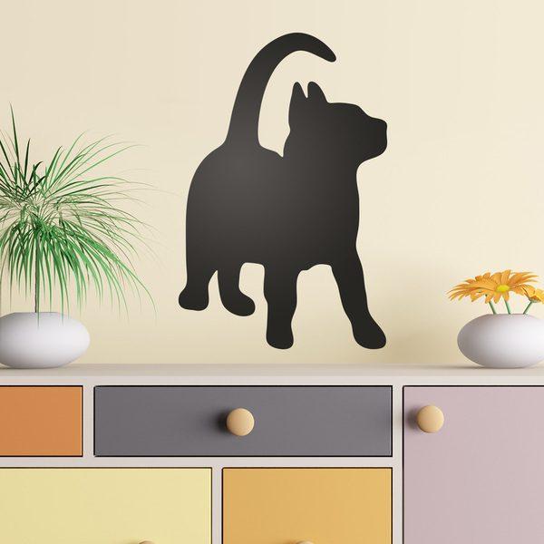 Vinilos Decorativos: Silueta de un gato curioso