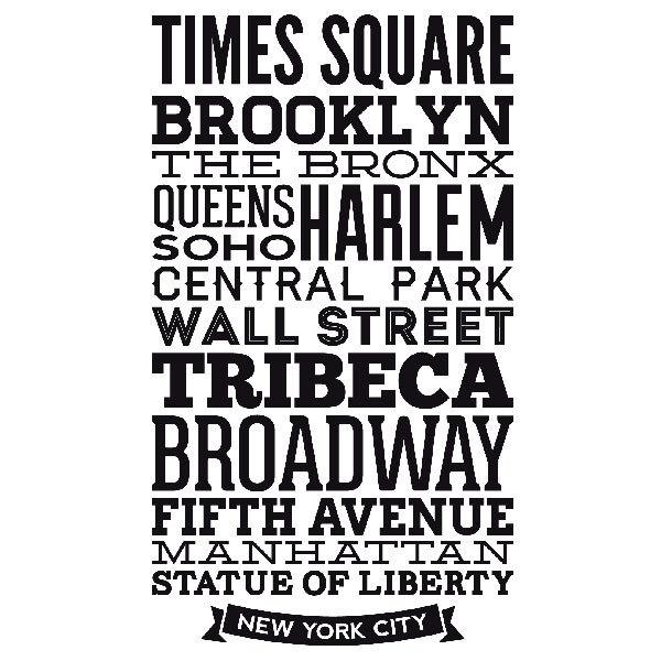 Vinilos Decorativos: Tipográfico Calles de Nueva York