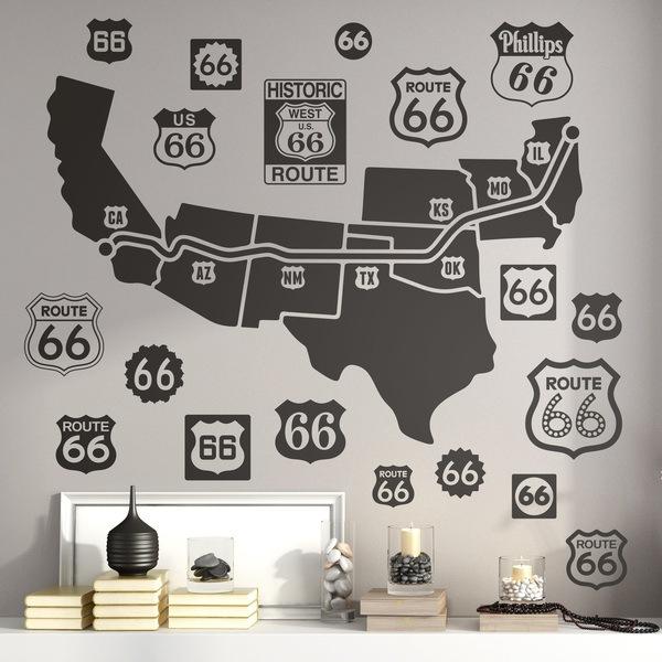 Vinilos Decorativos: Mapa y logos Route 66