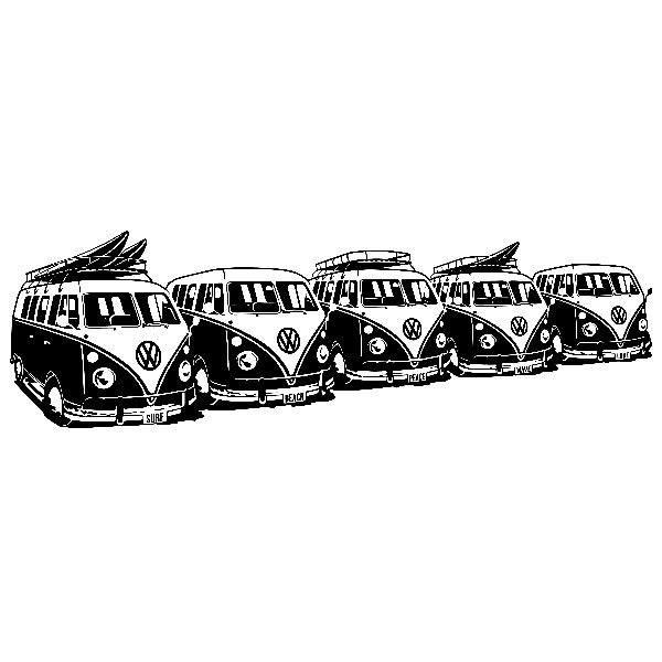 Vinilos Decorativos: 5 Furgonetas VW Surferas