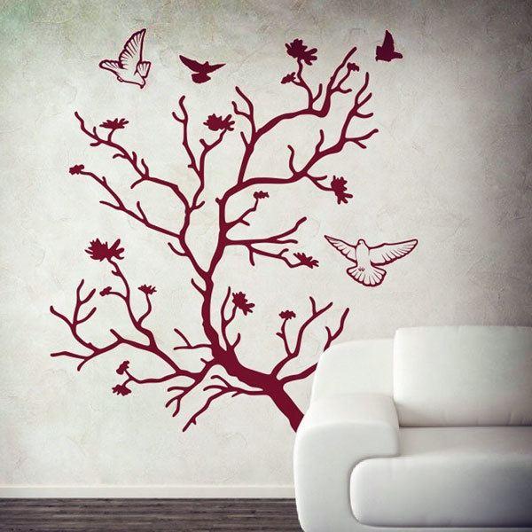 Vinilos Decorativos: Árbol en otoño y palomas