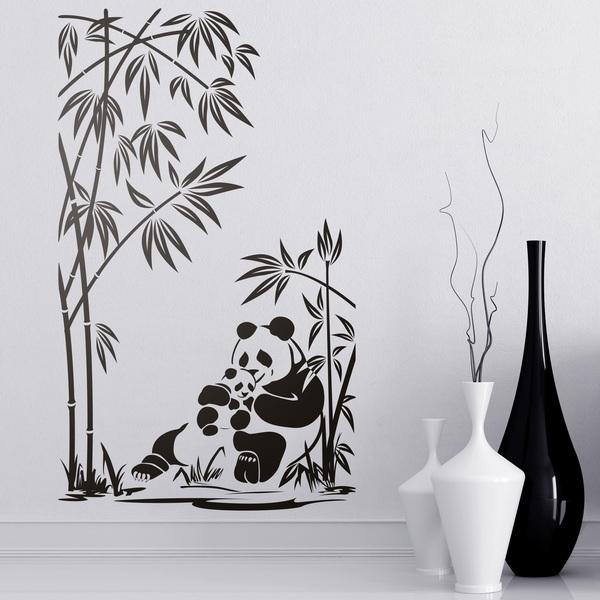 Vinilos Decorativos: Osos panda y cañas de bambú