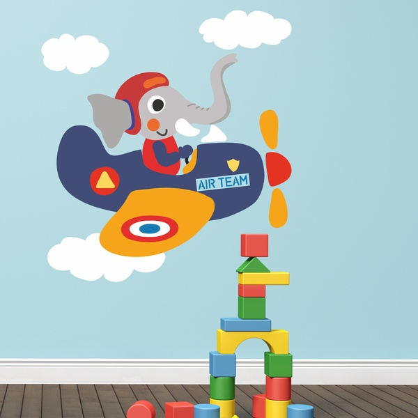 Vinilos Infantiles: Elefante piloto de avión