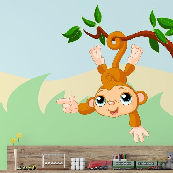 Vinilos Infantiles: Mono cuelga de la rama