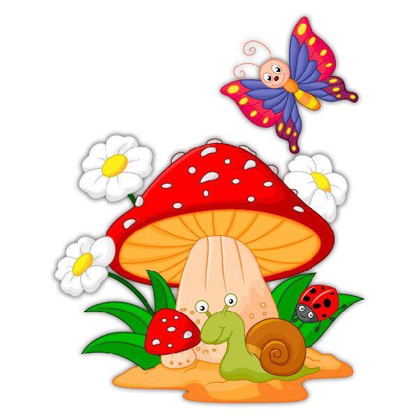 Vinilos Infantiles: Seta, margaritas, caracol y mariposa