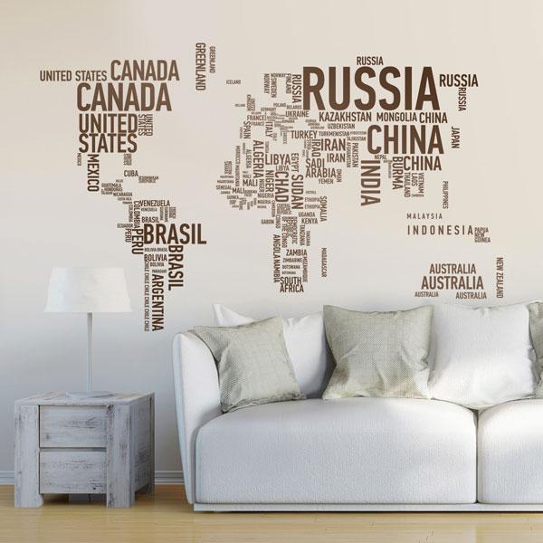 Vinilos Decorativos: Mapamundi o mapa del mundo tipográfico