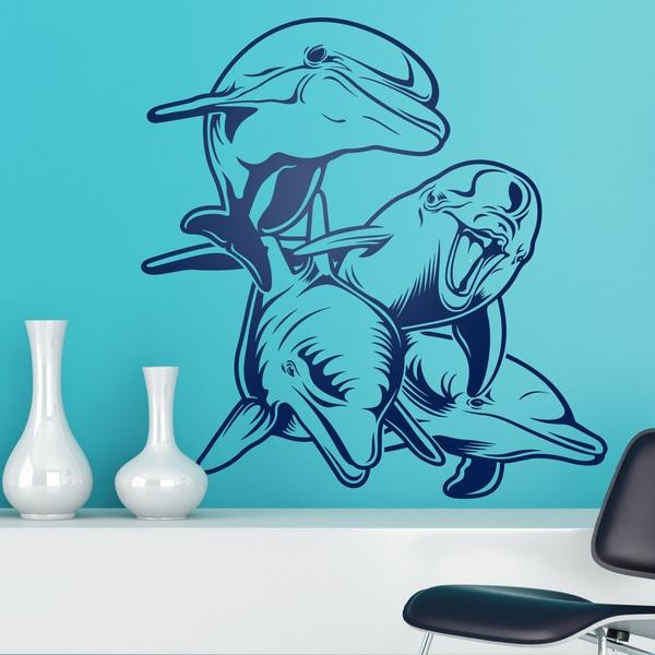 Vinilos Decorativos: 4 Delfines en fondo marino