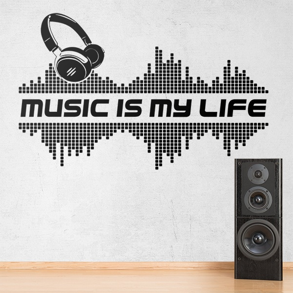 Vinilo decorativo music is my life la m sica es mi vida for Vinilo decorativo musical pared