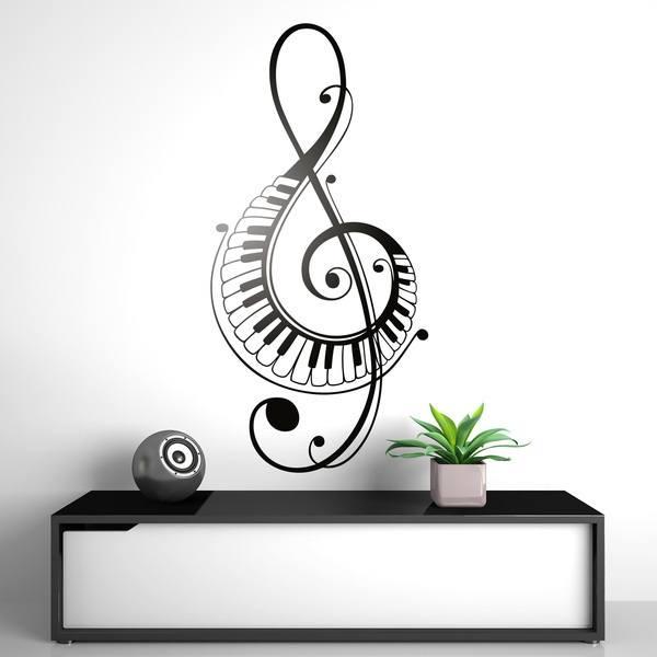 Vinilos Decorativos: En clave de sol con teclas de piano