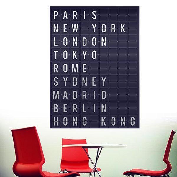 Vinilos Decorativos: Panel ciudades aeropuerto