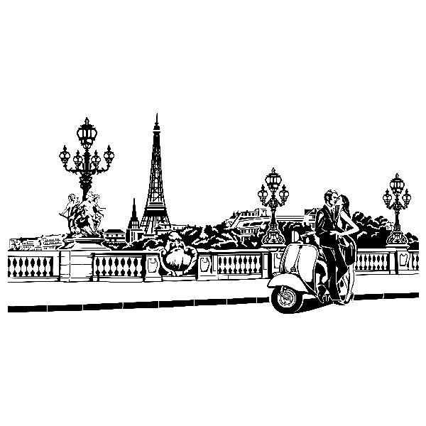 Vinilos Decorativos: Escena romántica en París