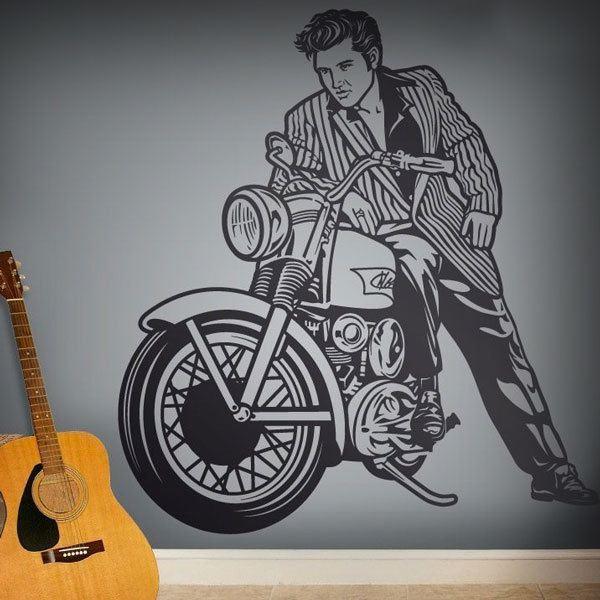 Vinilos Decorativos: Elvis Presley y motocicleta
