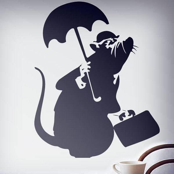 Vinilos Decorativos: Rata con paraguas de Banksy