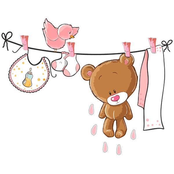 Vinilos Infantiles: Oso en el tendedero rosa