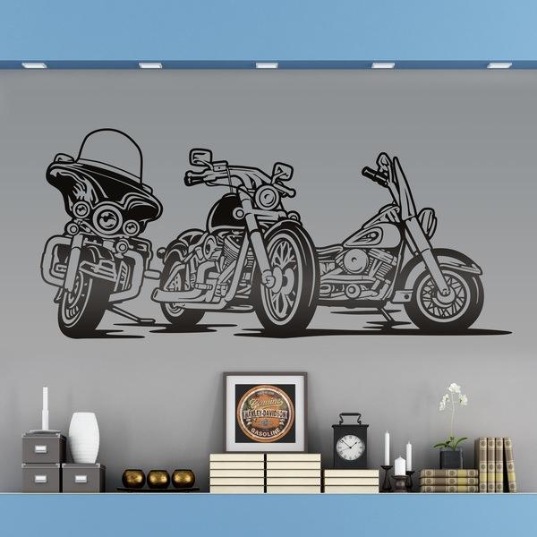 Vinilos Decorativos: 3 Motos Harley aparcadas