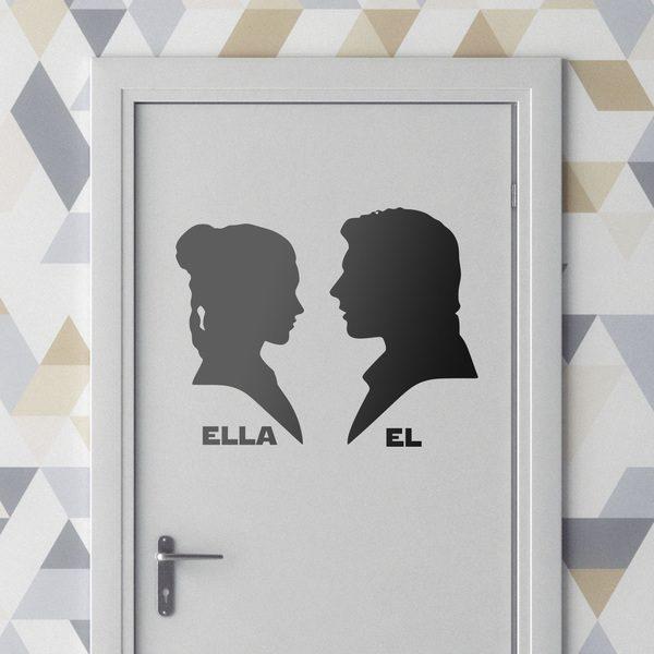 Vinilos Decorativos: Leia y Han Solo señal baños