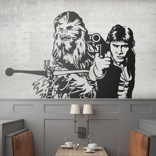 vinilos con chewbacca y han solo star wars teleadhesivo. Black Bedroom Furniture Sets. Home Design Ideas