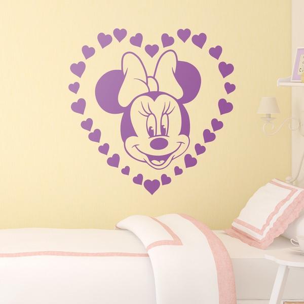 Vinilos Infantiles: Minnie Mouse y corazones