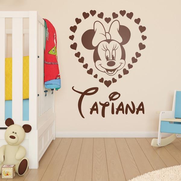 Vinilos Infantiles: Corazón Minnie Mouse con nombre 2