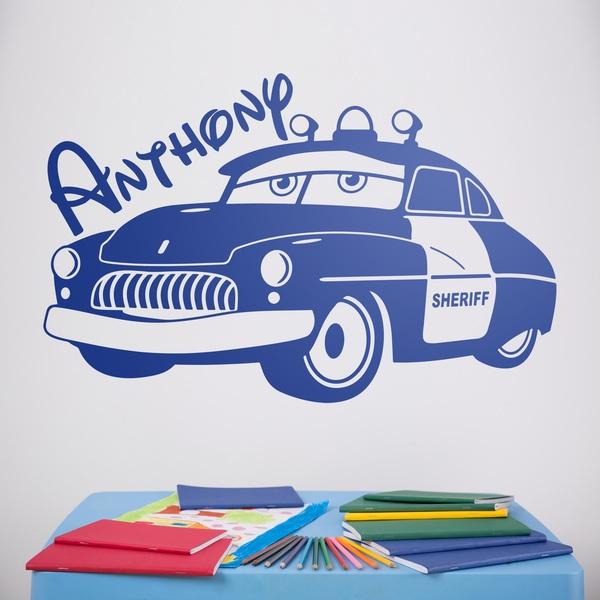 Vinilos Infantiles: Coche Sheriff de Cars con nombre
