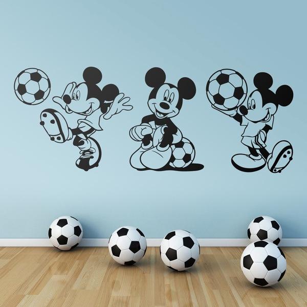 Vinilos Infantiles: Tríptico Mickey Mouse Futbolista