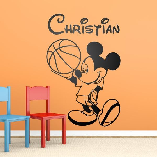 Vinilos Infantiles: Mickey Mouse Baloncesto 1