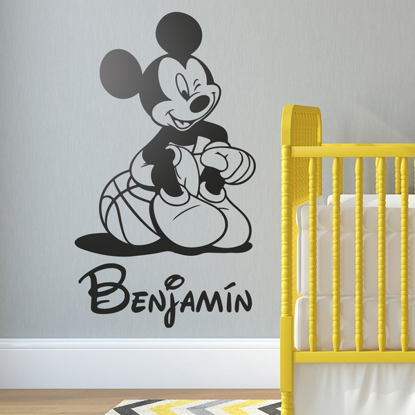 Vinilos Infantiles: Mickey Mouse Baloncesto 2