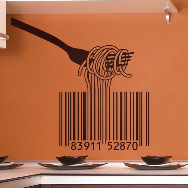 Vinilos Decorativos: Tenedor, espaguetis y código de barras