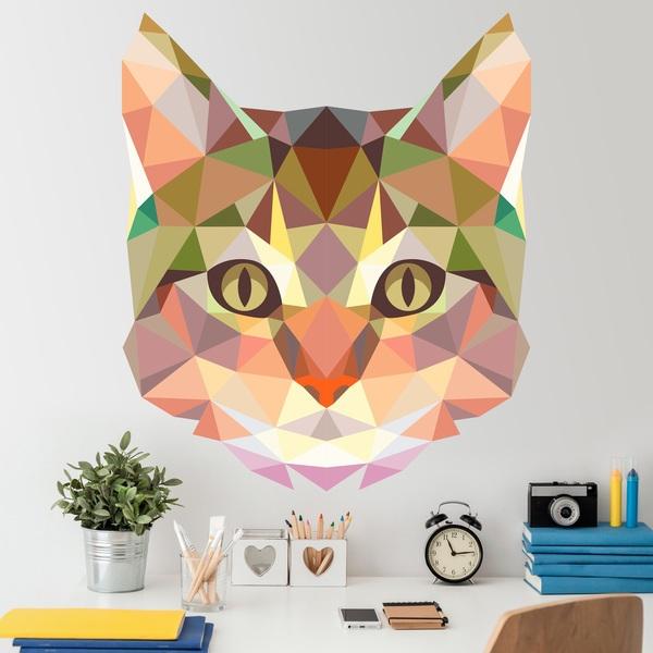 Vinilos Decorativos: Cabeza de gato origami