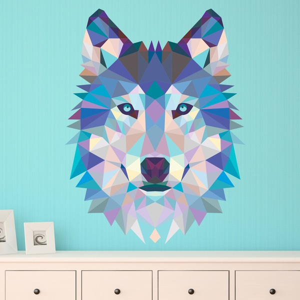 Vinilos Decorativos: Cabeza de lobo origami