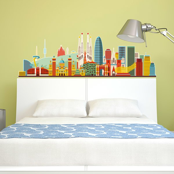 Vinilos Decorativos: Skyline Barcelona Color 2