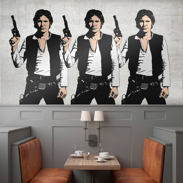 Vinilos Decorativos: Tríptico Han Solo Pop Art