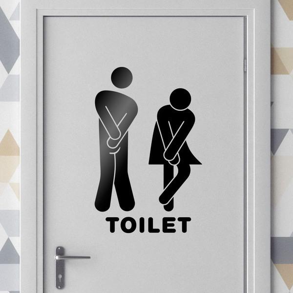 Vinilos Decorativos: Iconos graciosos baño toilet