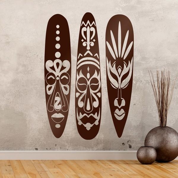 Vinilos Decorativos: Tríptico máscaras africanas
