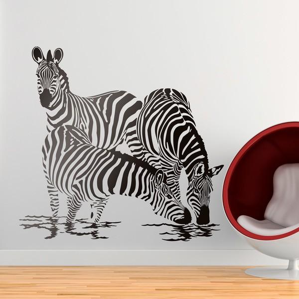 Vinilos Decorativos: Cebras bebiendo agua