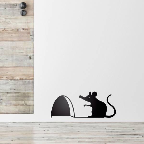 Vinilo infantil rat n en la puerta de su casa - Raton en casa ...