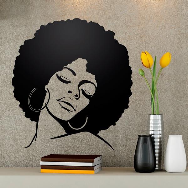 Vinilos Decorativos: Chica peinado Afro