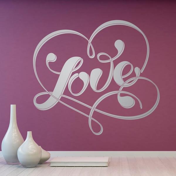 Vinilos Decorativos: Palabra Love y corazón