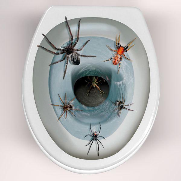 Vinilos Decorativos: Arañas saliendo de la taza del wáter