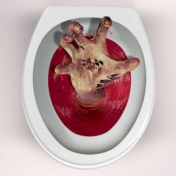 Vinilos Decorativos: Mano zombie saliendo del wáter