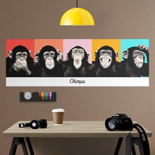Vinilos Decorativos: Poster adhesivo de 5 Chimpancés