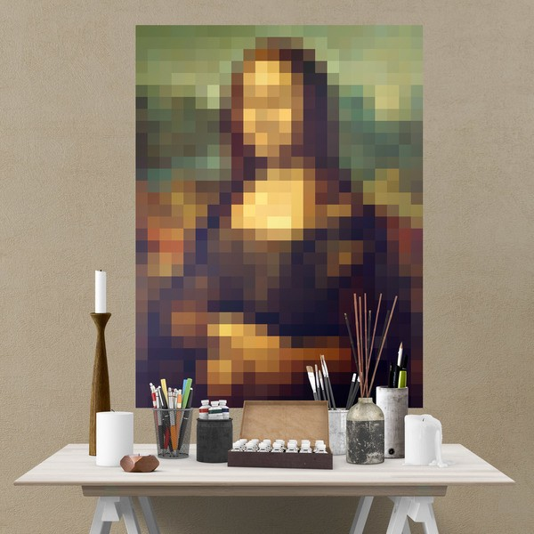 Vinilos Decorativos: Póster adhesivo Mona Lisa Gioconda Pixel