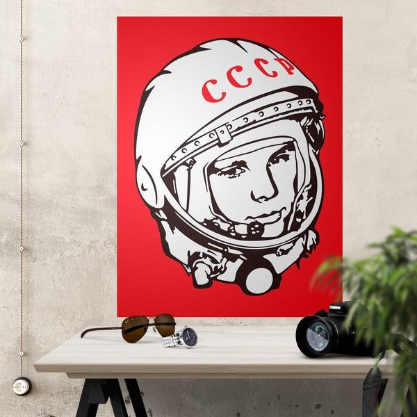 Vinilos Decorativos: Póster adhesivo Astronauta Yuri Gagarin