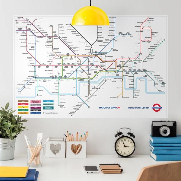 Vinilos Decorativos: Póster adhesivo Mapa del metro de Londres