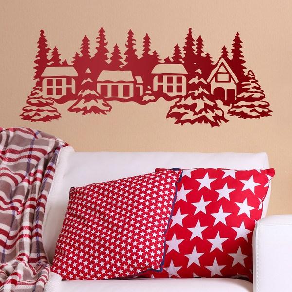 Vinilos Decorativos: Paisaje casas y árboles con nieve